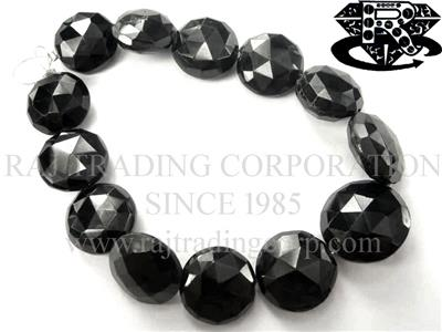 Black Spinel Faceted Coin (Quality A+)