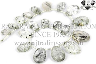 Tourmalinated Quartz Faceted Pear (Quality B)