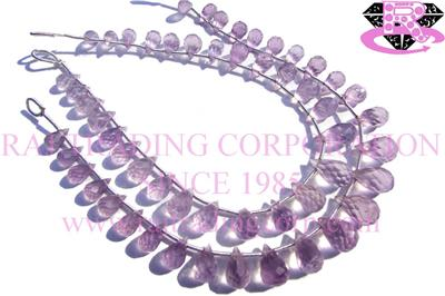 Pink Amethyst Faceted Drops (Quality AA)