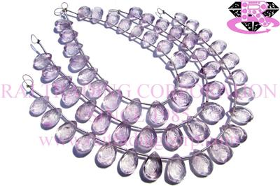 Pink Amethyst Faceted Carved Pear (Quality AA+)
