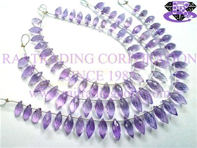 Amethyst (Light) Faceted Dew Drops (Quality AA)