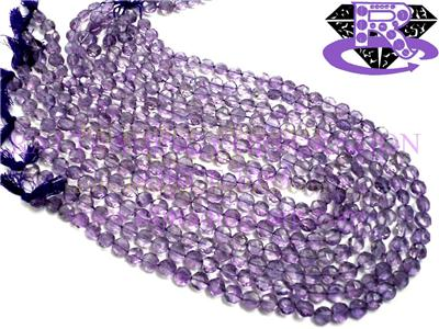 Amethyst (Light) Faceted Coin (Quality A+)