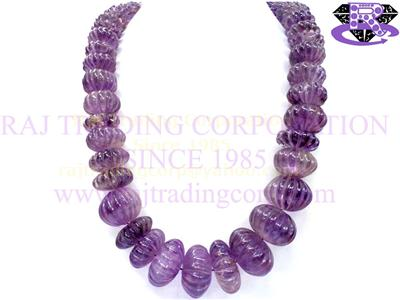 Amethyst (Light) Carved Melon (Quality B)