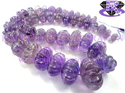 Amethyst (Light) Carved Melon (Quality A)