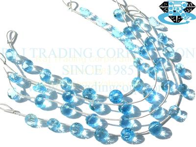 Sky Blue Topaz Faceted Onion (Quality AAA)