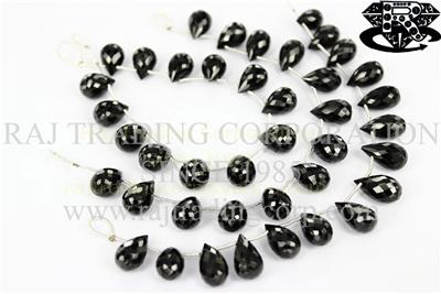 Black Spinel Faceted Drops (Quality AA)