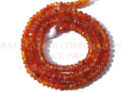 Carnelian Faceted Roundel (Quality A)