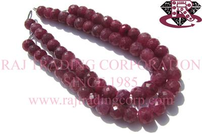 Ruby (Color Enhanced) Faceted Roundel (Quality A)