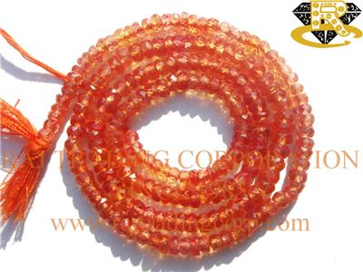 Orange Sapphire Faceted Roundel (Quality AA+)