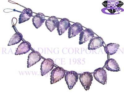 Amethyst (Light) Faceted Carved Leaf (Quality A+)