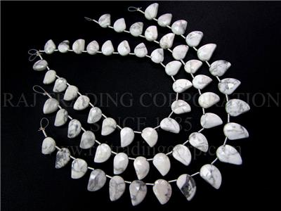 White Howlite Faceted Mango (Quality AA)