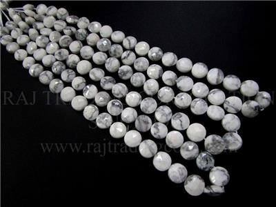 White Howlite Faceted Coin (Quality AAA)