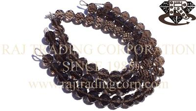 Smoky Quartz Faceted Concave Cut Round (Quality AAA)