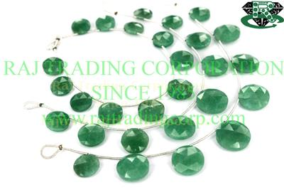 Green Aventurine Faceted Coin (Side Drill) (Quality AA)