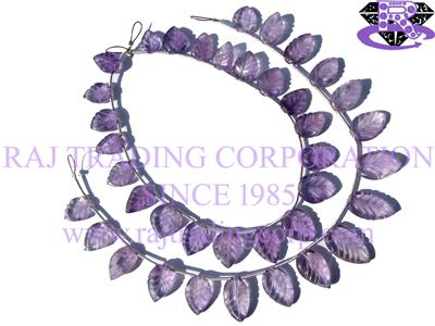 Amethyst (Light) Carved Leaf (Quality AA)
