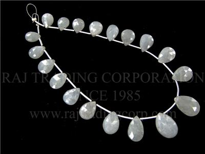 Natural White Sapphire Faceted Pear (Quality A)