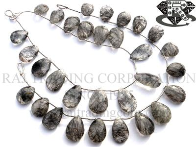 Tourmalinated Quartz Faceted Pear (Quality A)