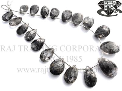 Tourmalinated Quartz Faceted Pear (Quality AA)