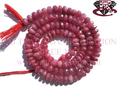 Ruby (Natural) Faceted Roundel (Quality A)
