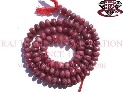 Ruby (Natural) Faceted Roundel (Quality A+)